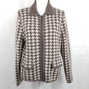 Pendleton Herringbone Zip Front Cardigan Wool L
